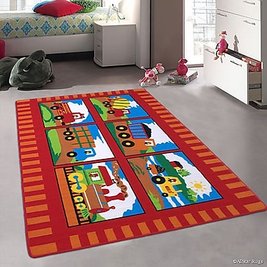 Zoomie Kids Lenny Trucks and Trains Kids/Baby Room Red Area Rug; 4'11'' x 6'11''