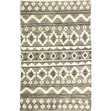Union Rustic Marisela Hand-Knotted Wool Ivory/Gray Area Rug; 5' x 7'6''