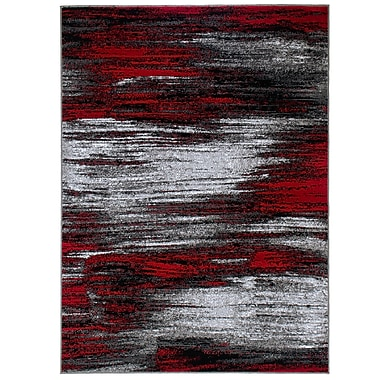 Williston Forge Kendrick High Quality Exclusive Drop-Stitch Ombre Brush Streak Designed Red Area Rug