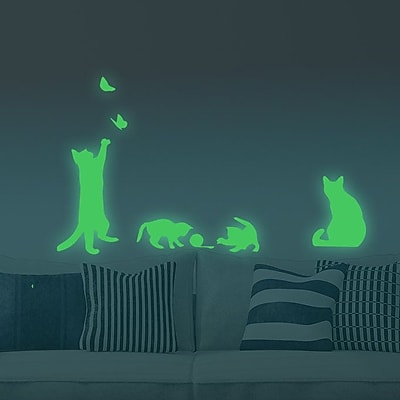 Walplus Four Cats Glowing Wall Decal