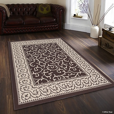 Winston Porter Morales All-Weather Floral Chocolate Indoor/Outdoor Area Rug; 5' x 7'