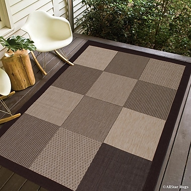 Winston Porter Russo All Weather Indoor/Outdoor Chocolate Area Rug; 5' x 7'