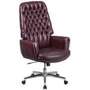 Alcott Hill Abbate Traditional Tufted High-Back Leather Executive Chair; Brown