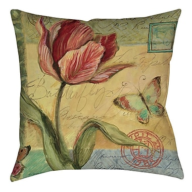 August Grove Loretta Tulip Indoor/Outdoor Throw Pillow; 18'' H x 18'' W x 5'' D