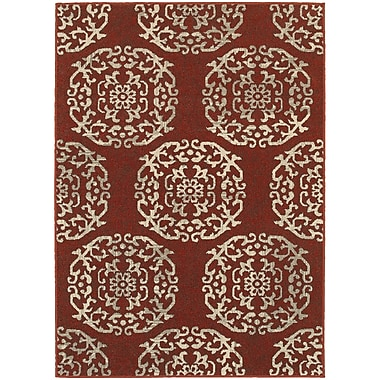 Charlton Home Alexander Red/Beige Area Rug; 1'10'' x 3'