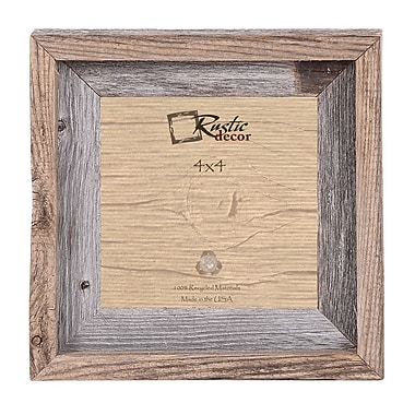 Loon Peak Signature Reclaimed Barn Wood Wall Picture Frame; 4'' H x 4'' W x 2'' D