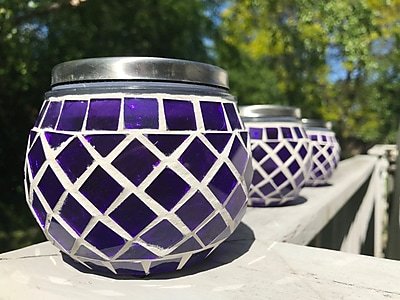 Pomegranate Solutions Mosaic Solar LED Deck Light (Set of 3); Purple WYF078281321965