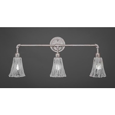 Williston Forge Kash 3-Light Italian Ice Glass Vanity Light; Aged silver