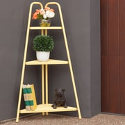 Royal Garden Marcel 3 Tier Corner Metal Shelving Unit; Yellow