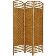 World Menagerie Claribel 67'' x 38'' Weave 3 Panel Room Divider; Light Beige