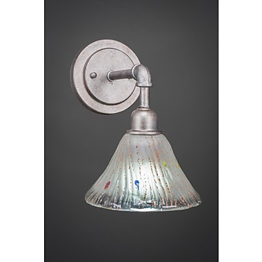 Williston Forge Kash 1-Light Frosted Crystal Wall Sconce; Aged Silver