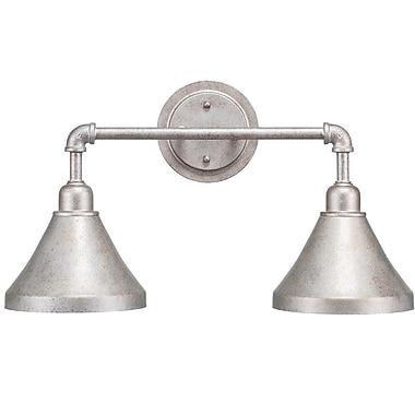 Williston Forge Kash 2-Light Stainless Steel Vanity Light; Aged Silver
