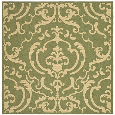 Winston Porter Short Olive/Natural Outdoor Rug; Square 6'7''