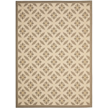 Winston Porter Short Beige / Dark Beige Indoor/Outdoor Pattern Rug; 4' x 5'7''