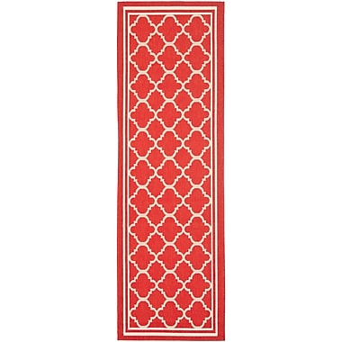 Winston Porter Short Red Indoor/Outdoor Power Loomed Area Rug; Runner 2'3'' x 20'