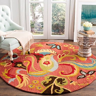 Winston Porter Ross Rust Floral Area Rug; Round 6'