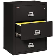 "Fire King Lateral 3 Drawer 44"" Fireproof File Cabinet in Black, Includes White Glove Delivery (3-4422-CBLI)"