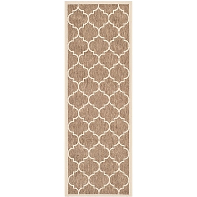 Winston Porter Short Brown/Bone Outdoor Rug; Runner 2'3'' x 10'