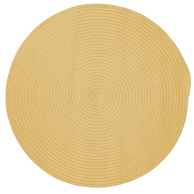 Winston Porter Mcintyre Pale Banana Outdoor Area Rug; Round 8'