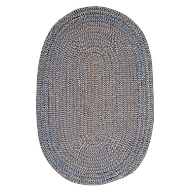 Winston Porter Hale Blue Ice Check Indoor/Outdoor Area Rug; Oval 7' x 9'