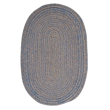 Winston Porter Hale Blue Ice Check Indoor/Outdoor Area Rug; Round 6'