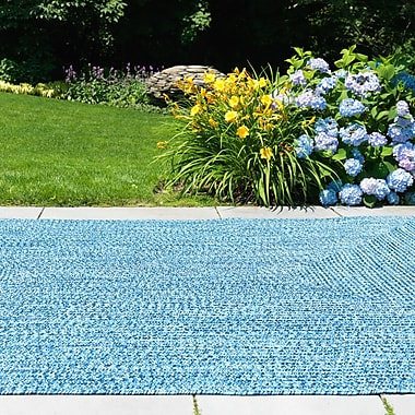 Winston Porter Hawkins Blue Wave Indoor/Outdoor Area Rug; Square 6'