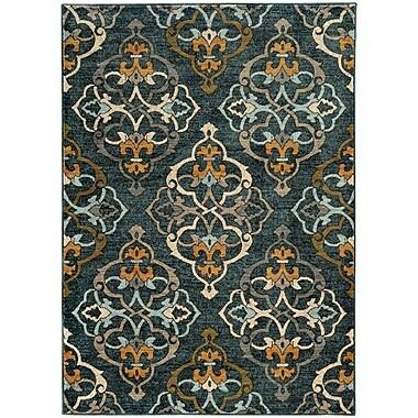 Winston Porter Herring Oranate Quatrefoil Blue/Gold Area Rug; 7'10'' x 10'10''