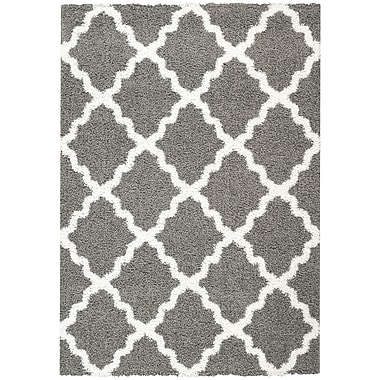 Willa Arlo Interiors Garen Moroccan Trellis Contemporary Gray/White Shag Area Rug; 3'3'' x 4'8''
