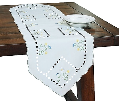Xia Home Fashions Spring Field Embroidered Cutwork Table Runner; 15''W x 72''L