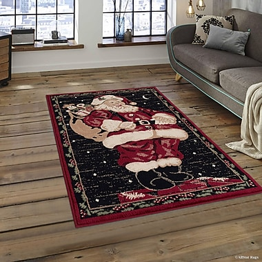 The Holiday Aisle Holiday Christmas Santa Claus High Quality Wover Red Area Rug