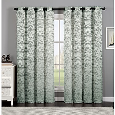 Ophelia & Co. Burns Ikat Semi-Sheer Grommet Single Curtain Panel; Blue