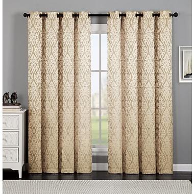 Ophelia & Co. Burns Ikat Semi-Sheer Grommet Single Curtain Panel; Gold
