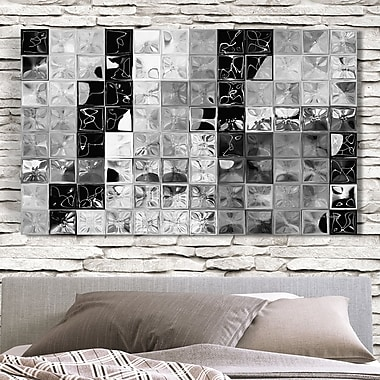 Latitude Run 'Shades of Graytile Mosaic' Painting Print on Wrapped Canvas; 28'' H x 48'' W