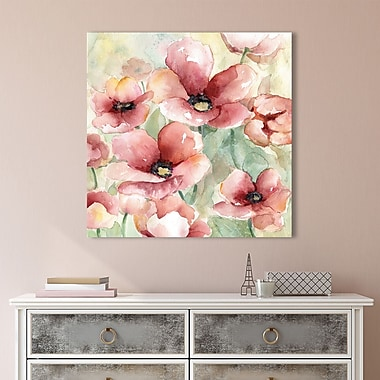 Red Barrel Studio 'Poppy Field I' Painting Print on Wrapped Canvas; 18'' H x 18'' W