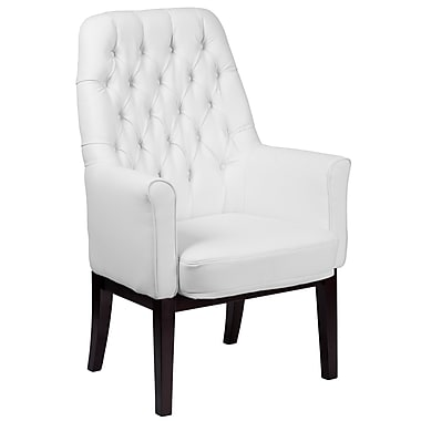 Alcott Hill Broadwell Traditional Tufted Arm Chair; White