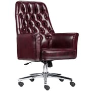 Alcott Hill Broadwell Village Traditional Tufted Swivel High-Back Executive Chair; Burgundy
