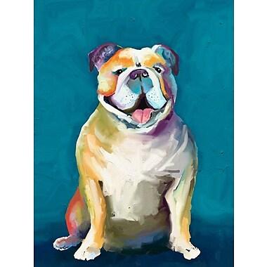 Ebern Designs Bulldog on Blue Background Print on Wrapped Canvas; 18'' H x 14'' W