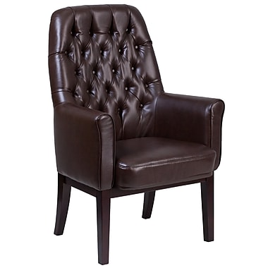 Alcott Hill Broadwell Traditional Tufted Arm Chair; Brown