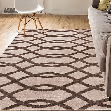 Winston Porter Manning Poofy Modern Abstract Lines Brown Area Rug; 2' x 3'