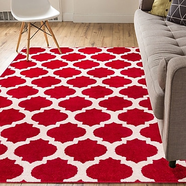 Varick Gallery Mystic Zoe Modern Trellis Red Area Rug; 2' x 3'