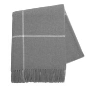 Lands Downunder Italian Cashmere and Lambswool Plaid Natural Fiber Throw; Light Gray