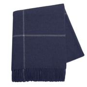 Lands Downunder Italian Cashmere and Lambswool Plaid Natural Fiber Throw; Navy