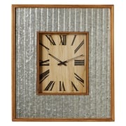 Gracie Oaks Elsworth Wood Framed Galvanized Wall Clock