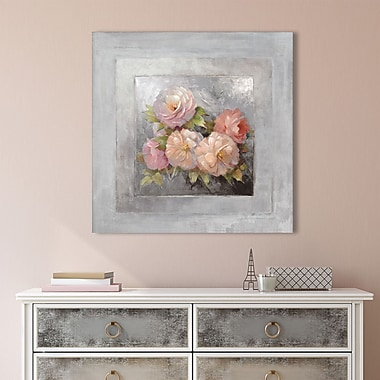 Ophelia & Co. 'Roses on Gray III' Painting Print on Wrapped Canvas; 18'' H x 18'' W