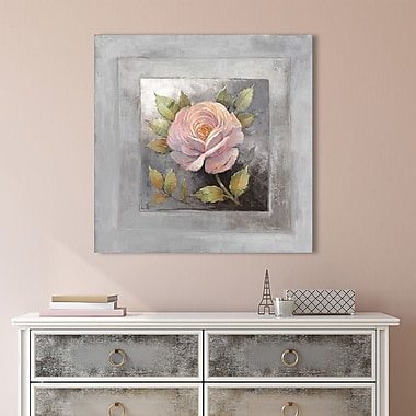 Ophelia & Co. 'Roses on Gray IV' Painting Print on Wrapped Canvas; 24'' H x 24'' W