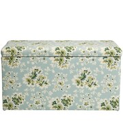 August Grove Barbour Floral Cotton Upholstered Storage Bedroom Bench; Sea Green