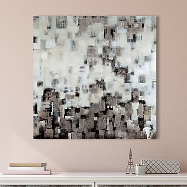 Ivy Bronx 'City Nights, Silver' Graphic Art Print on Wrapped Canvas; 28'' H x 28'' W
