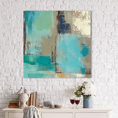 Latitude Run 'Teal and Aqua Reflections II' Painting Print on Wrapped Canvas; 28'' H x 28'' W