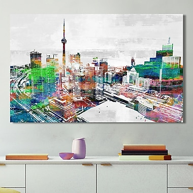 Latitude Run Studio 'Toronto City View 3' Graphic Art Print on Wrapped Canvas; 24'' H x 40'' W