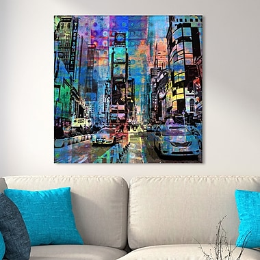 Latitude Run Studio 'Times Square' Graphic Art Print on Wrapped Canvas; 24'' H x 24'' W